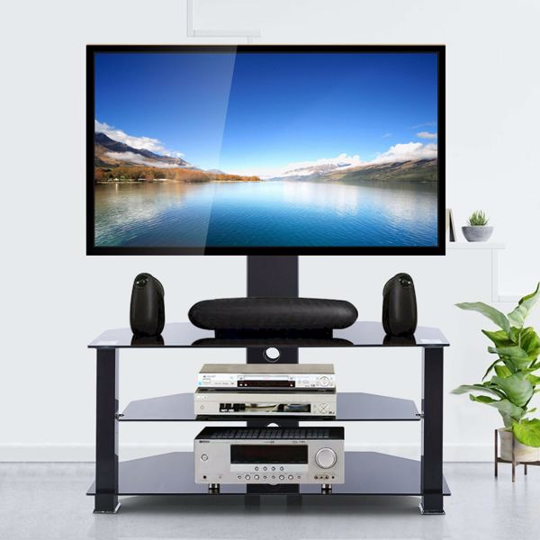 """3 Tier Floor TV Stand Table with Mount for 32""""-70"""" LED LCD Screen TVs"""