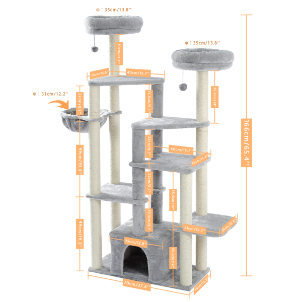 Modern Wood Cat Tree Cats Multi Floor Large Play Tower Sisal Scratching Post Kitten Furniture Activity Centre With Condo Playhouse Dangling Toy Grey