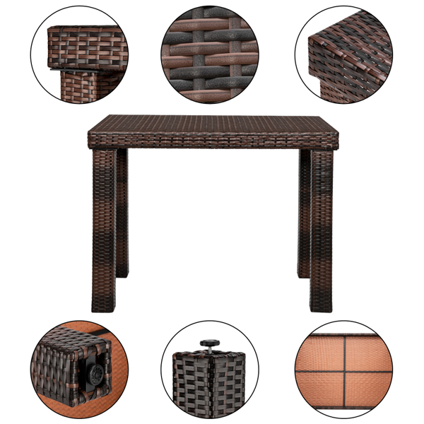 Bar Table-Table and Chair Set of 5 Brown Gradient