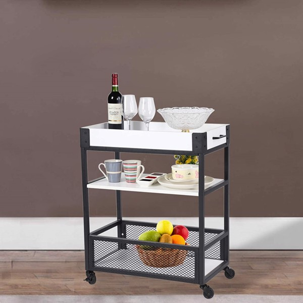 3-Tier Metal Multi-Functional Storage Cart with Wheels, Kitchen Bar Service Cart Wine Cart With Detachable Wooden Case, Wine Rack, Lockable Wheel And Handle