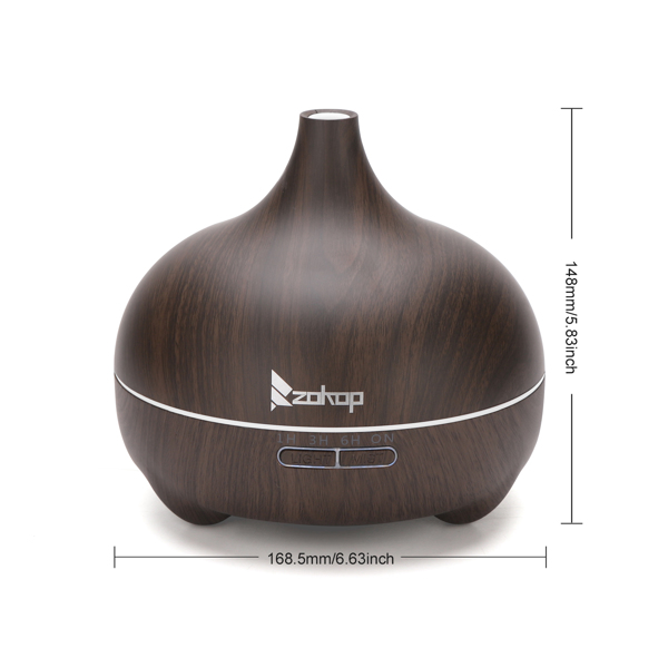 Zokop 2102yk 110V 14W 550ml Aroma Diffuser Dark Brown Plastic with White Remote Control and Colorful Light