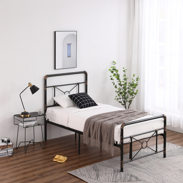 3ft Single-Layer Water Pipe Bed with Cross Design and Bed Foot Iron Bed Black Gold-Painted