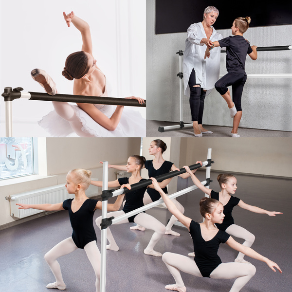 Double-Decked Liftable Home Dance Studio Ballet Pole Yoga Stretching Fitness Dance Pole White