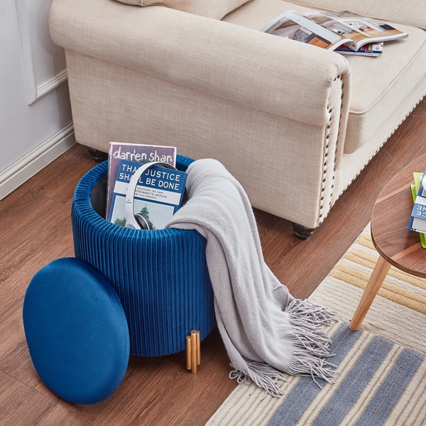 Velvet Round Footrest Ottoman with Storage Modern Upholstered Padded Pouffe Vanity Stool with Gold Plating Leg for Bedroom Living Room (Blue)