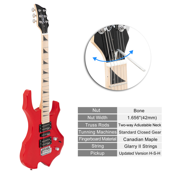 【Do Not Sell on Amazon】Glarry Flame  II Upgrade Electric Guitar with Updated Version Pickup , Glarry II String, Canadian Maple Fingerboards, Bone Nut Red
