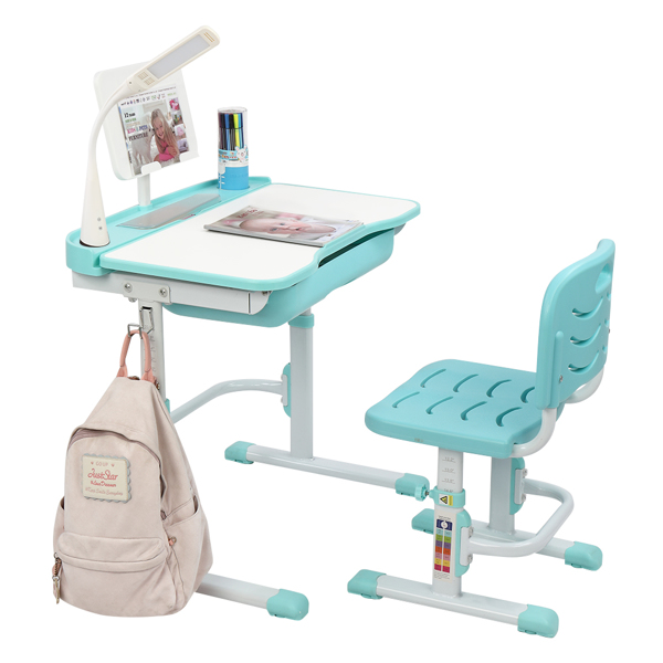 70CM Lifting Table Can Tilt Children Learning Table And Chair Blue-Green (With Reading Stand With USB Table Lamp)