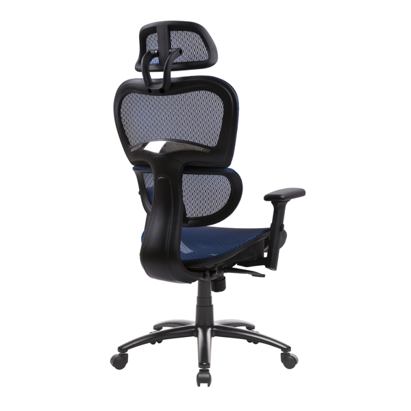 Ergonomic Office Chair Mesh Chair Computer Chair Desk Chair High Back Chair with Adjustable Headrest and Armrest-blue