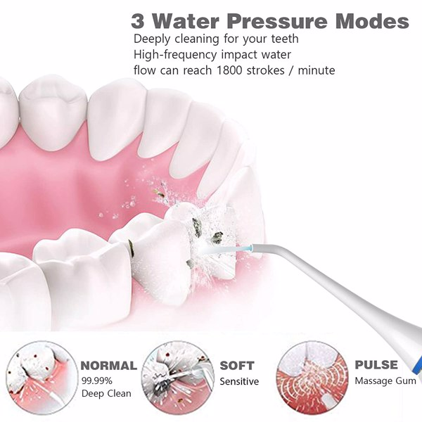 Cordless Water Flosser, Lächen Dental Oral Irrigator Portable with Wireless Charge Station,IPX7 Waterproof,3 Mode Water Flossing with 5 Jet Tips for Home and Travel, Braces Care