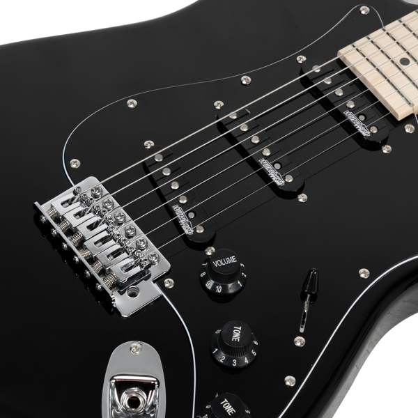 【Do Not Sell on Amazon】Glarry GST Ⅱ Upgrade Electric Guitar with Updated Version Pickup , Glarry II String, Canadian Maple Fingerboards, Bone Nut Black