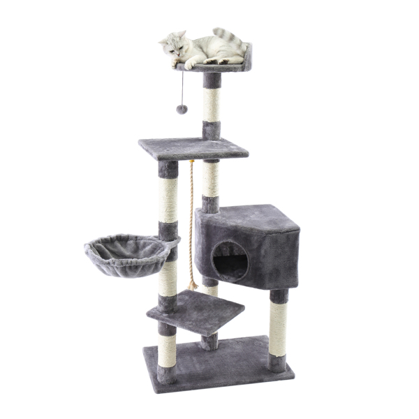 Cat Tree,Kitty Toy Cat Scratching Post Natural Sisals Kitten Activity Tower Condo Stand Luxury Furniture for Small & Medium Cats Gray