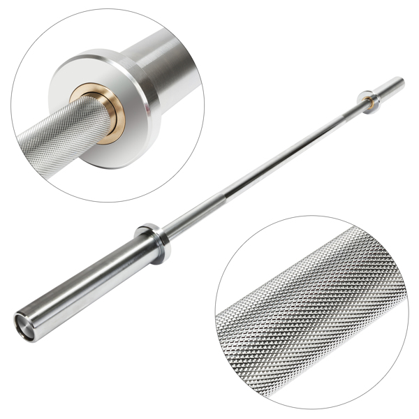 5ft Steel Double Copper Sleeve Double Bearing Threaded Non-slip Curved Barbell Bar Silver