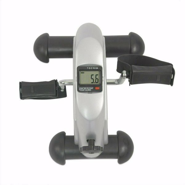 Home Gym Exercise Pedal Mini Stepper Cycling Bike Fitness Trainer Workout Silver