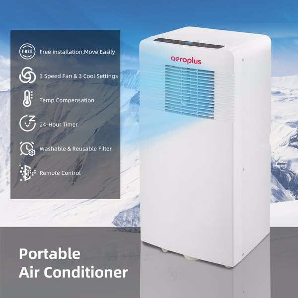 10000BTU Portable Air Conditioner, Cools Rooms up to 200 sq.ft, Remote Control, Exhaust Hose, Complete Window Mount Exhaust Kit.Prohibit the shelves at Amazon