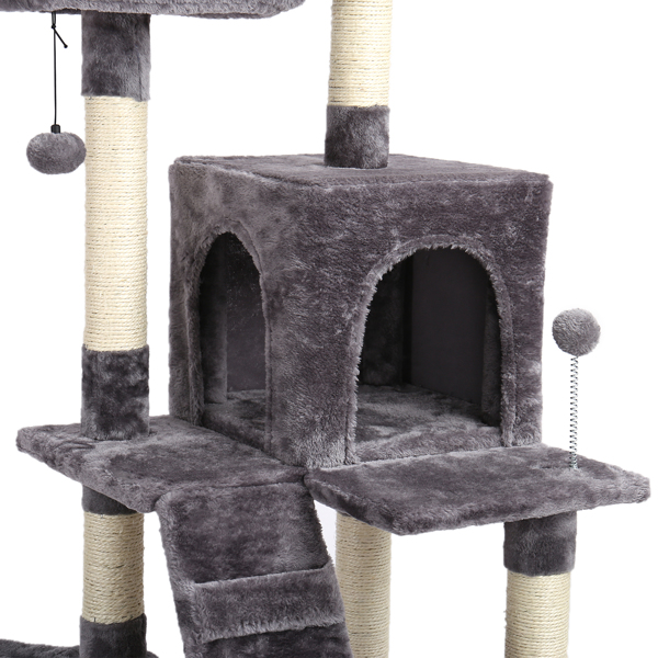 Cat Tree With Scratching Posts Natural Sisals,Kitten Play House With 2 Condos Spacious Perches Cat Climbing Tower Furniture Grey