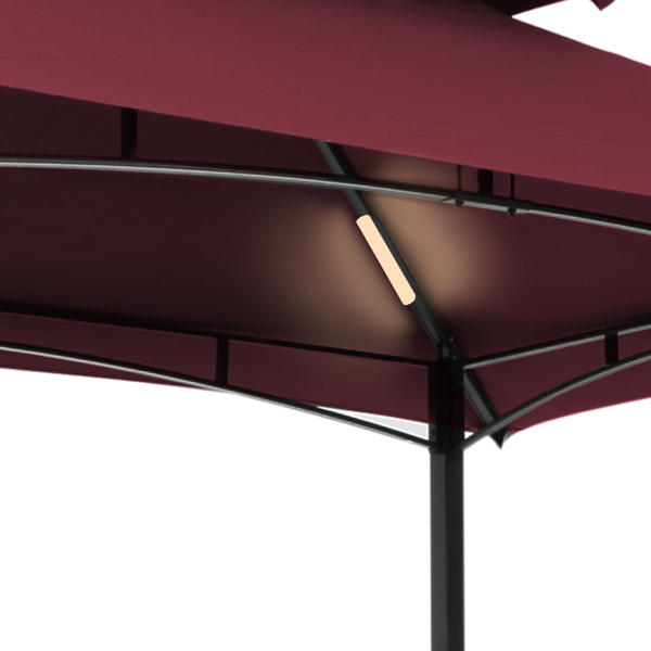 Outdoor Grill Gazebo With Light 8 x 5 Ft Shelter Tent, Double Tierd Soft Top Canopy,Steel Frame With Hook And Bar Counters,Burgundy