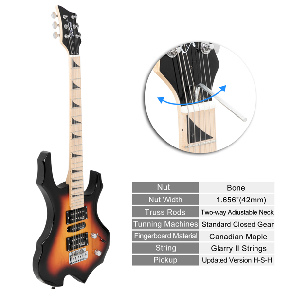 【Do Not Sell on Amazon】Glarry Flame II Upgrade Electric Guitar with Updated Version Pickup , Glarry II String, Canadian Maple Fingerboards, Bone Nut Sunset Color