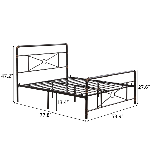 Single-Layer Water Pipe Bed Cross Design with Bed Foot 4FT6 Black Gold-Painted Iron Bed
