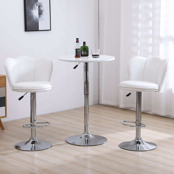 Modern Set of 2 Bar Stools with Back Dining Counter PU Chairs 360° Swivel Stool White