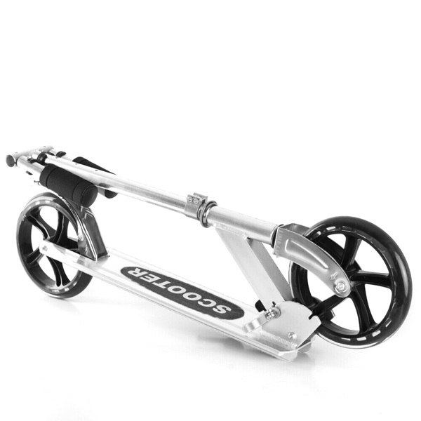 Kick Scooters with 200mm Large Wheels, Scooter for Kids 10 Years and up/Adults   Adjustable Height   Shoulder Strap, Smooth Ride Commuter Portable Scooters Best Gift for Teen Silver