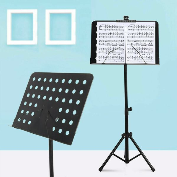 Fordable Music Stand Sheet Holder Adjustable Tripod Base Metal with Carry Bag