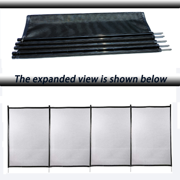 4x12 Ft Outdoor Pool Fence With Section Kit,Removable Mesh Barrier,For Inground Pools,Garden And Patio,Black