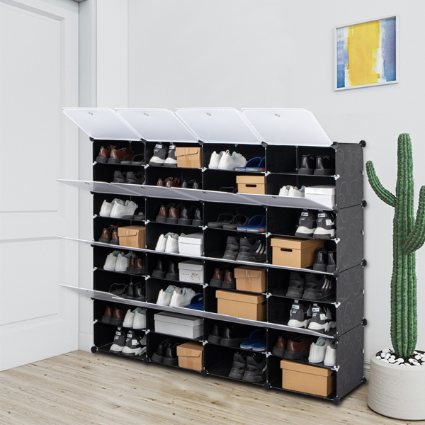 8-Tier Portable 64 Pair Shoe Rack Organizer 32 Grids Tower Shelf Storage Cabinet Stand Expandable for Heels, Boots, Slippers, Black