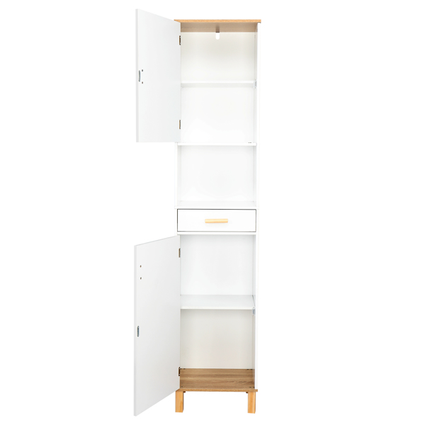 FCH Solid Wood Foot Single Drawer Double Door Bathroom High Cabinet White & Wood Grain Color