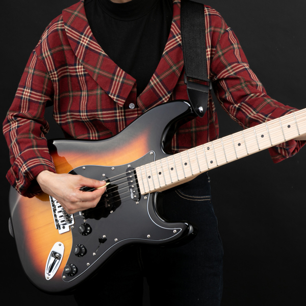 【Do Not Sell on Amazon】Glarry GST  II  Upgrade Electric Guitar with Updated Version Pickup , Glarry II String, Canadian Maple Fingerboards, Bone Nut Sunset Color