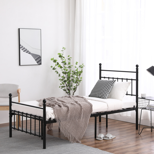 Single Layer Round Tube Vertical Strip with Ball Decoration with Bed Foot 3ft Iron Bed Black