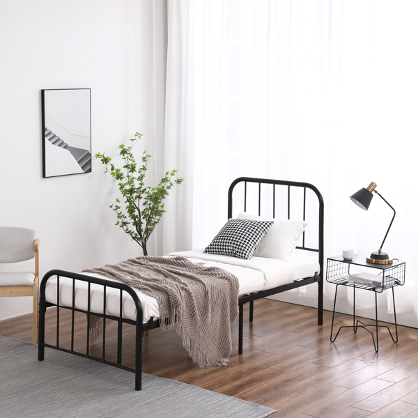 Single Layer Round Tube Arc Frame Vertical Strip with Bed Foot 3ft Iron Bed  Black