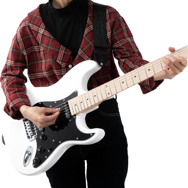 【Do Not Sell on Amazon】Glarry GST II Upgrade Electric Guitar with Updated Version Pickup , Glarry II String, Canadian Maple Fingerboards, Bone Nut White