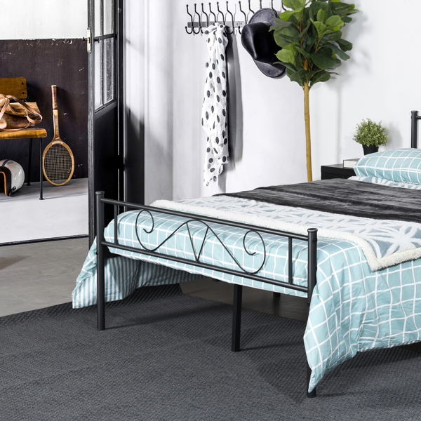 Full Size Platform Bed Frame with Headboard, Nordic Style Metal Bed Easy Assembly, Size 77.2*56.1*34.8 Inches
