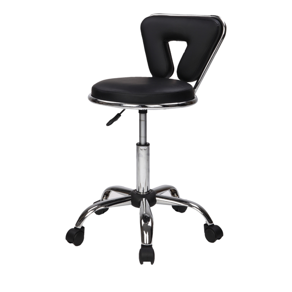 Hydraulic Rolling Swivel Salon Stool Chair Height Adjustable Home Spa Massage Manicure Facial Stool with Backrest and Wheels,Black
