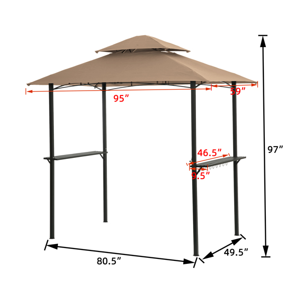 Outdoor Grill Gazebo With Light 8 x 5 Ft Shelter Tent, Double Tierd Soft Top Canopy,Steel Frame With Hook And Bar Counters,KHAKI