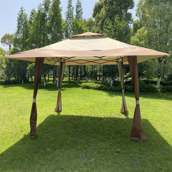 Outdoor 13x13 Ft Canopy,Patio Pop-up Folding Gazebo Canopy Tent With Corner Curtain,Suitable For Backyard, Party,Camping,Coffee