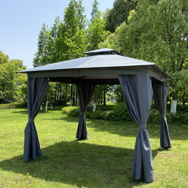 10x10 Ft Outdoor Patio Garden Gazebo Tent, Outdoor Shading, Gazebo Canopy with Curtains,Gray