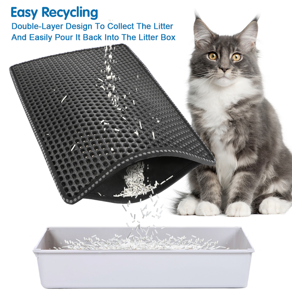 """Cat Litter Mat, Kitty Litter Trapping Mat, Double Layer Mats with MiLi Shape Scratching design, Urine Waterproof, Easy Clean, Scatter Control  21"""" x 14""""  Black"""