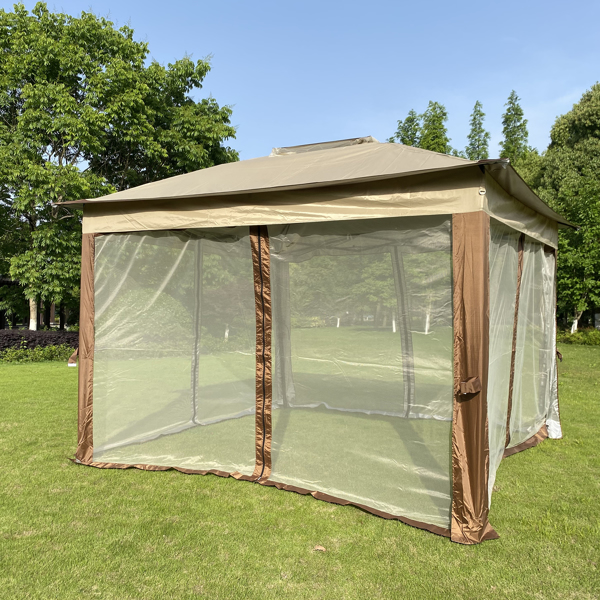 Outdoor 11x 11Ft Pop Up Gazebo Canopy With Removable Zipper Netting,2-Tier Soft Top Event Tent,Suitable For Patio Backyard Garden Camping Area,Coffee