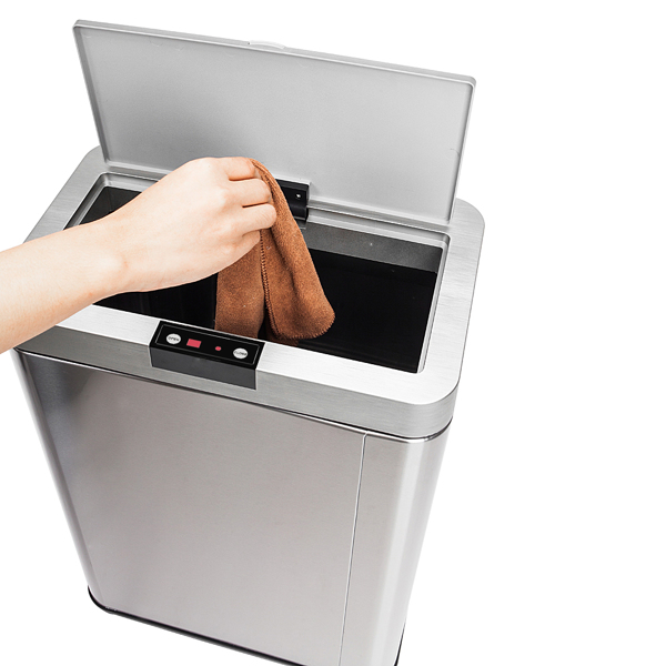 13Gallon/50L Inductive Touchless Full-automatic Fingerprint-resistant Garbage Trash Can Silver