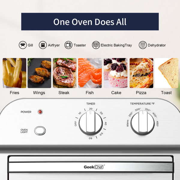 Geek Chef Air Fryer Toaster Oven, 4 Slice Convection Airfryer Countertop Oven,Reheat, Fry Oil-Free, Stainless Steel,1500W.Prohibit shelves in the Amazon