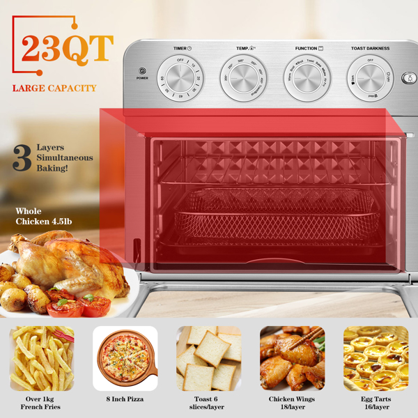 Geek Chef Air Fryer Toaster Oven, 6 Slice 24QT Convection Airfryer Countertop Oven, Roas, Broil, Reheat, Fry Oil-Free, Stainless Steel, Silver, 1700W.Prohibited to be listed on Amazon