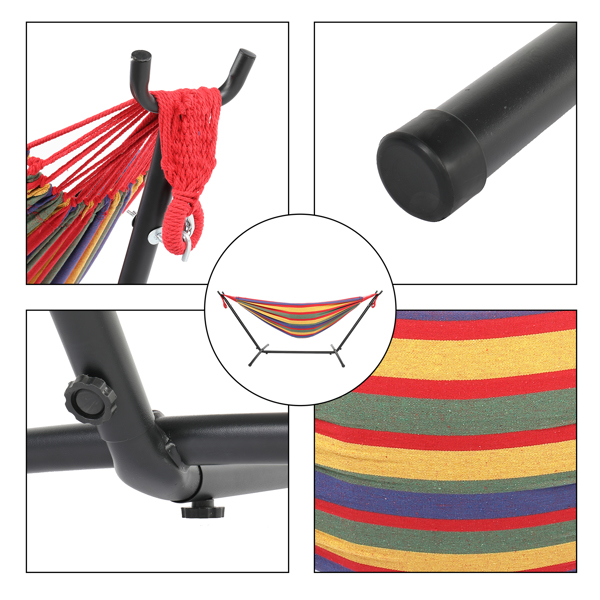 9ft Black Steel Pipe Hammock Frame with 200*150cm Polyester Cotton Hammock Four Red Strip Natural Rope Iron Hammock   Set