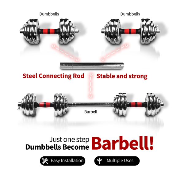 66lbs Adjustable Cast Iron Dumbbell Sets with Portable Packing Box 2In1 Dumbbells Barbell with Connecting Rod, 30KG Home Gym Training Free Weight Set for Men and Women