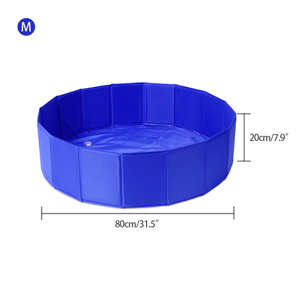 Dog/Cat Pool Feeling Cool Indoor Outdoor Pet Pool Bath Round Pool Foldable and Portable M Size 80*20cm