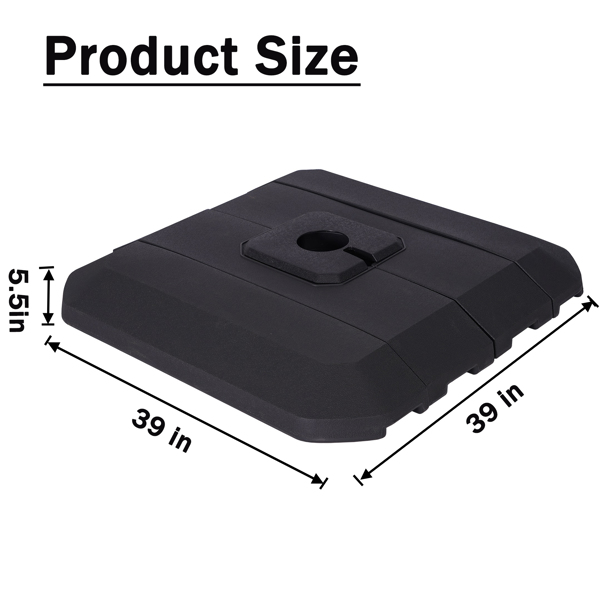 4 Pieces Plastic Outdoor Cantilever Offset Umbrella Base,Easy Water or Sand Filled Square Shaped Base With Convenient Carry Handle,Suitable For All Kinds Of Cross Parasol Base,Black