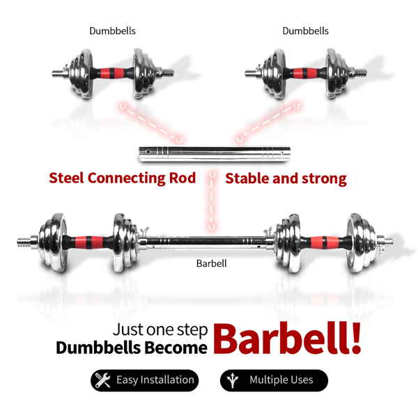Adjustable Cast Iron Dumbbell Sets with Portable Packing Box 2In1 Dumbbells Barbell with Connecting Rod, 20KG Home Gym Training Free Weight Set for Men and Women