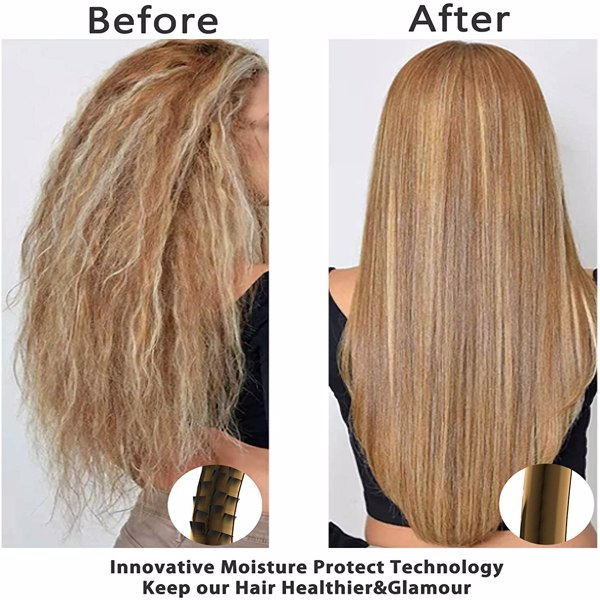Ocaliss Hair Straightener Brush, Frizz-Free Silky Hair Ionic Ceramic Iron Straightening Hot Comb with 20S Fast Heating, 3 Temp Settings, Anti-Scald and 60 Mins Auto Off, Perfect for Home Pro Salon