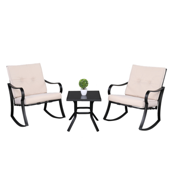 2pcs Strap Rocking Chair And 1pc Coffee Table Disassembly and Assembly Black Frame Beige Cushion Three-Piece Rattan Set
