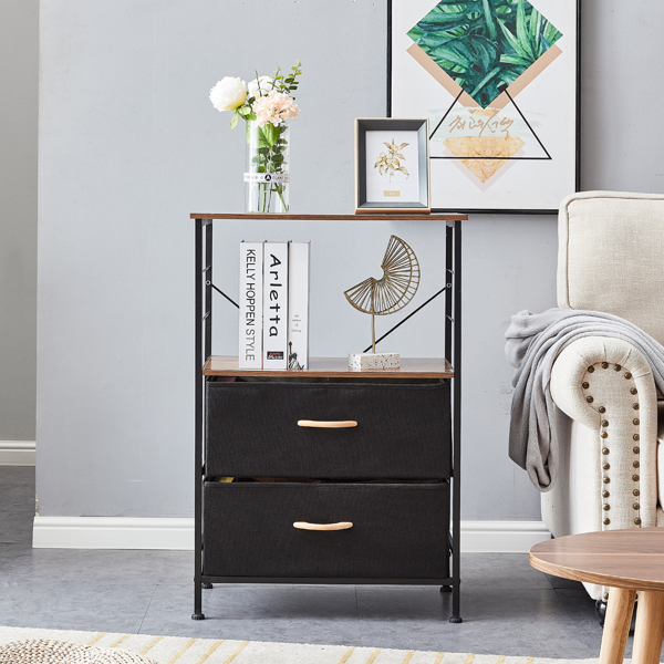 Nightstands, Rustic Side Table, Dresser Tower with 2 Fabric Drawers, Storage Shelves, bed side table, bedside book stand w/ Wooden Top, Metal Frame, Industrial, Rustic Brown and Black