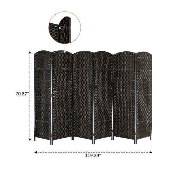 Six Folds Rattan Chinese Style Screen with Two Plates Black Brown